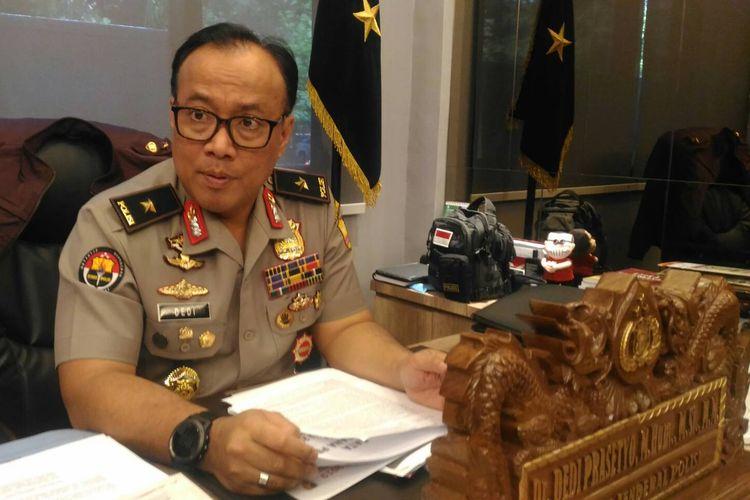 Kepala Biro Penerangan Masyarakat Humas Brigjen (pol) Dedi Prasetyo di Gedung Humas Mabes Polri, Jakarta, Senin (1/4/2019).