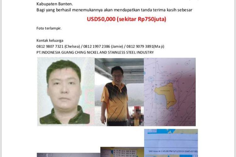 Keluarga Koran tiga Warga Negara China yang hilang di Pulang Sangiang, Banten, berkumpul di Posko Pencarian di Pelabuhan Merak, Jumat (8/11/2019)