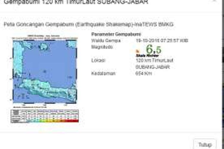 Gempa bumi magnitudo 6,5 mengguncang subang, Rabu (19/10/2016).