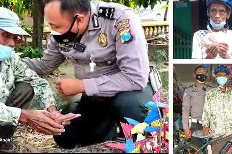 Pedagang mainan bernama Kasmadi (75) kaget mendapat sepeda dan uang dari polisi di Lamongan, Jawa Timur.