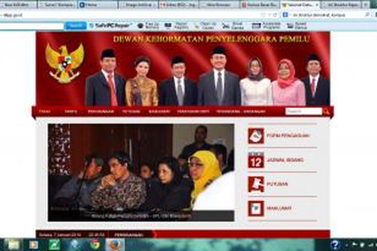 Tampilan situs DKPP