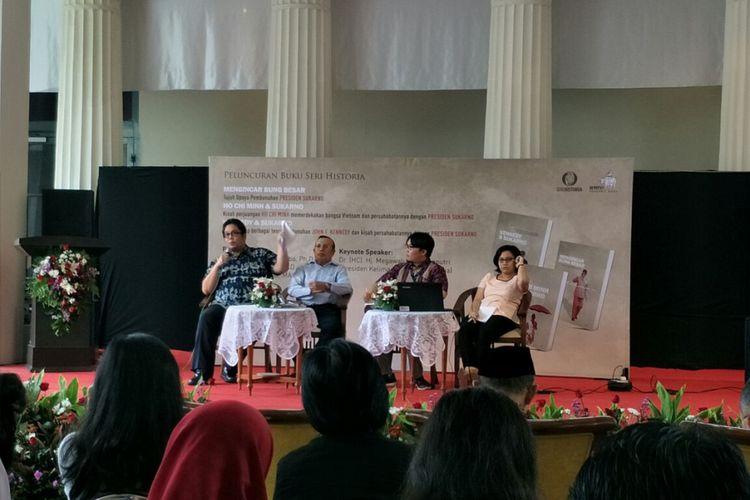 Acara diskusi bedah buku Mengincar Bung Besar, Ho Chi Minh dan Soekarno, dan Kennedy dan Soekarno di Museum Nasional, Jakarta, Kamis (30/11/2017).