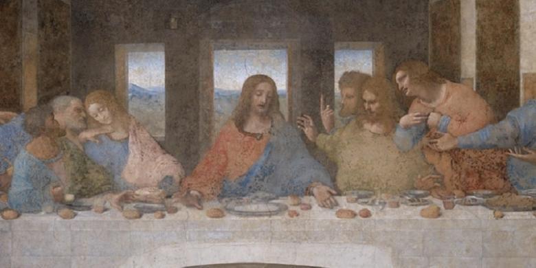 Perjamuan terakhir seperti dilukiskan oleh Leonardo Da Vinci. Penelitian terbaru mengungkap bahwa ilustrasi perjamuan terakhir dalam lukisan Da Vinci tersebut kurang tepat.