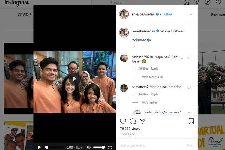 Gubernur Anies Baswedan melakukan tayangan langsung via media sosial Instagram untuk bercakap-cakap dengan warga dari berbagai daerah merayakan Idul Fitri.
