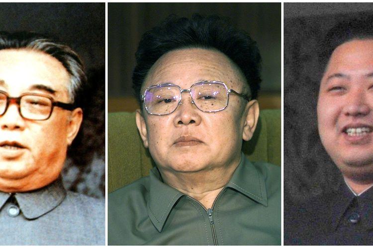 Kombinasi para Pemimpin Korea Utara dari kiri ke kanan: Kim Il Sung, Kim Jong Il, dan Kim Jong Un.