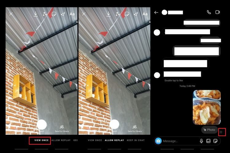 Cara mengirim pesan view once atau sekali lihat di DM Instagram. Apabila penerima pesan melakukan screenshot, pengirim akan mendapat notifikasi di sisi kanan pesan (gambar ujung kanan).
