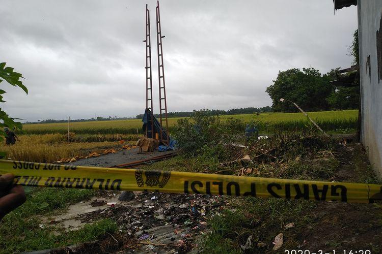 Semburan air bercampur lumpur yang muncul dari lubang pengeboran sumur di  di Dusun Karangasem, Desa Karanganyar, Kecamatan Purwodadi, Kabupaten Grobogan, Jawa Tengah telah berhenti, Minggu (1/3/2020).