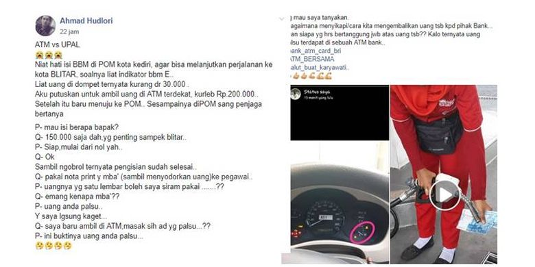 Viral unggahan pengguna Facebook bernama Ahmad Hudlori yang menampilkan video pembuktian uang kertas palsu yang disiram bensin oleh petugas SPBU pada Rabu (8/5/2019).