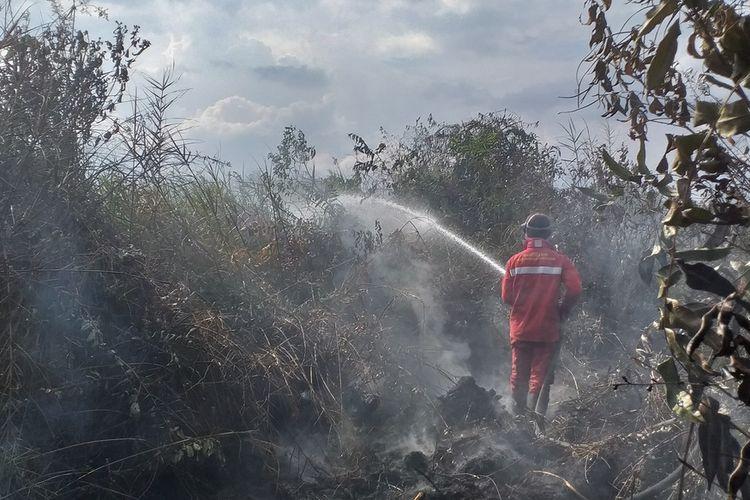 Tim Manggala Agni Daops Siak memadamkan titik api karhutla di Kampung Bunsur, Kecamatan Sungai Apit, Kabupaten Siak, Riau, Selasa (11/2/2020).