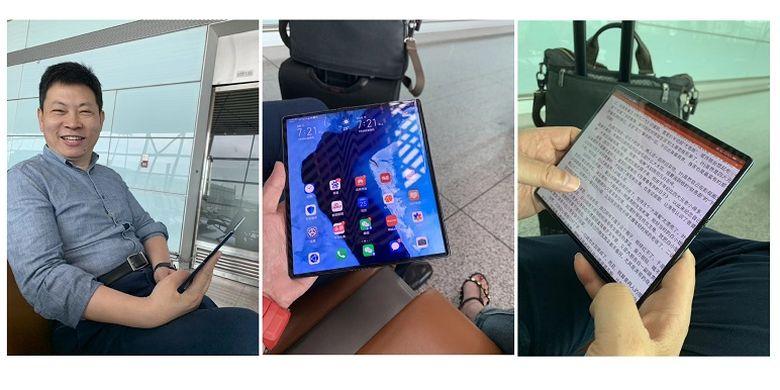 CEO Huawei, Richard Yu kedapatan membawa Huawei Mate X yang belum resmi dirilis.