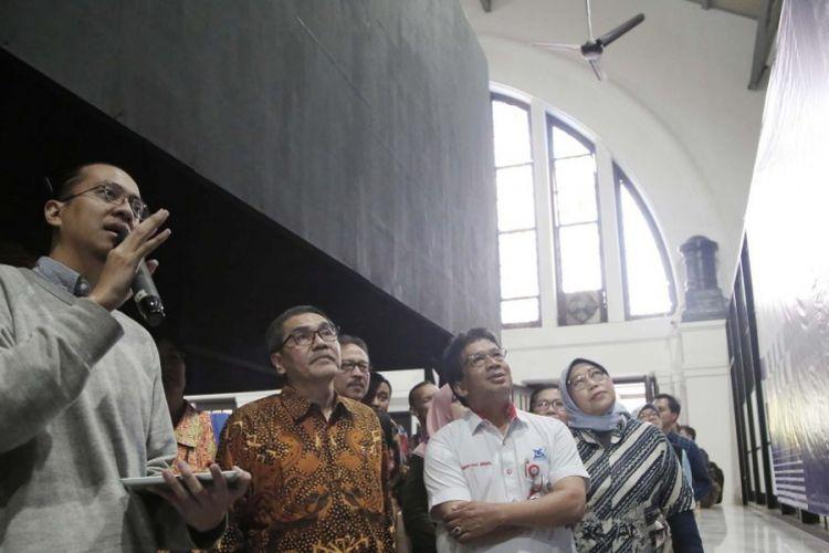 Direktur Jenderal Penguatan Riset dan Pengembangan, Kementerian Riset, Teknologi, dan Pendidikan Tinggi, Muhammad Dimyati dalam pembukaan acara Science, Technology, and Art Fair 2018 yang diselenggarakan Direktorat Jenderal Penguatan Riset dan Pengembangan di Gedung Filateli, Jakarta (14/11/2018).