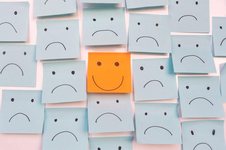 Ilustrasi emosi, berpikir positif