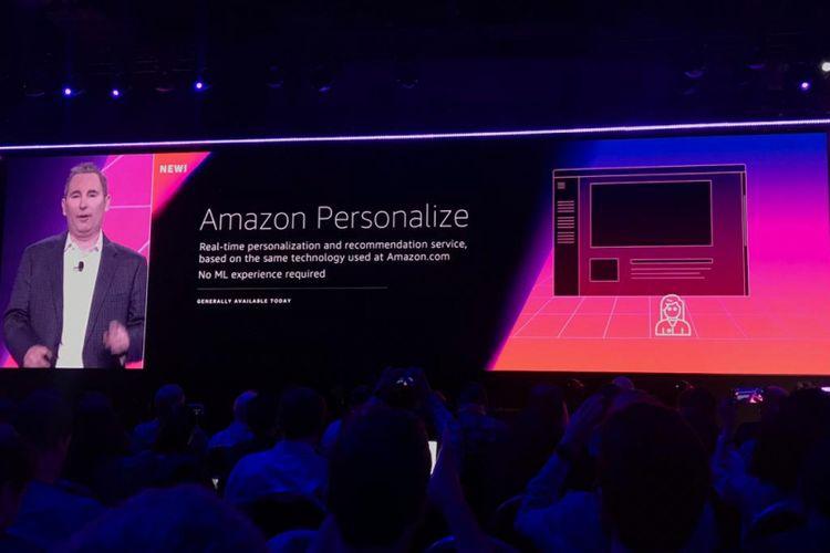 CEO Amazon Web Service, Andy Jassy, memperkenalkan sejumlah fitur baru dari poduk maschine learning perusahaannya pada Re:Invents 2018, Rabu (28/11/2018) atau Kamis dini hari WIB.