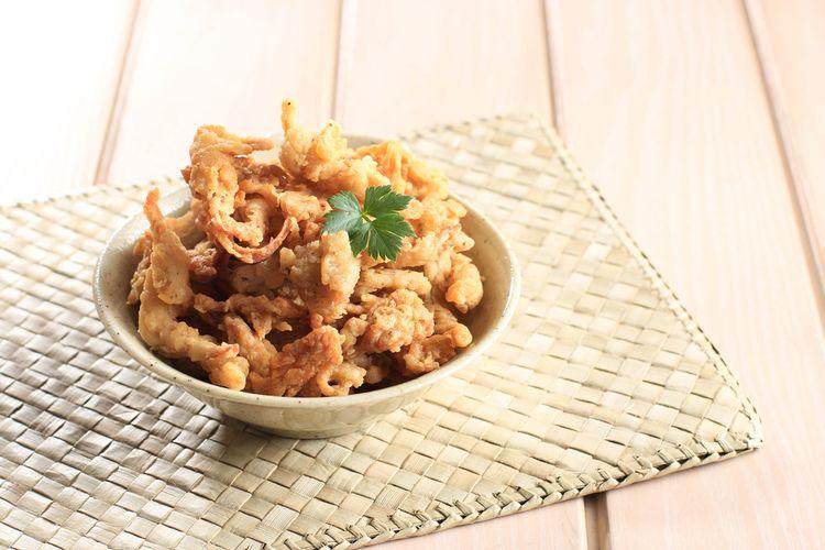 ilustrasi jamur krispi dengan campuran saus bbq