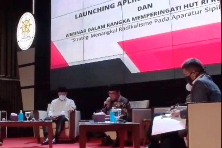 Menag Fachrul Razi saat menjadi narasumber pada webinar gelaran Kemenpan-RB.