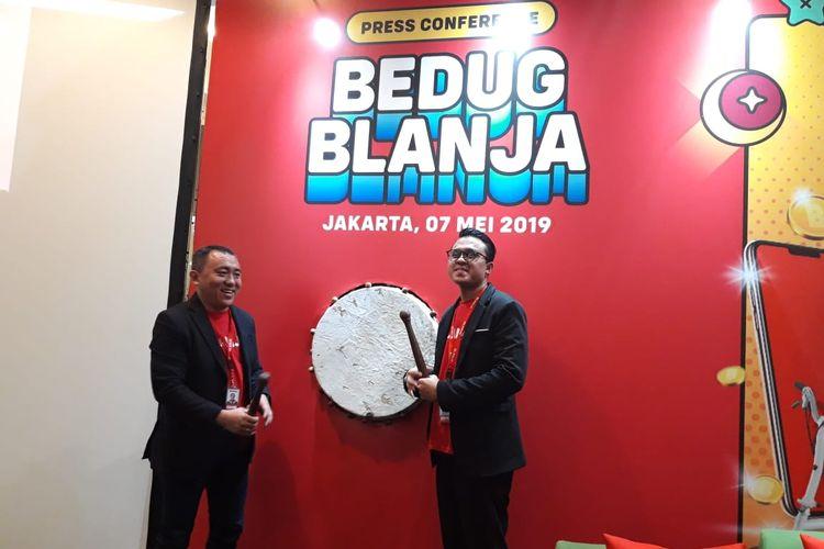 CEO Blanja.com Jemy Confido dan Brand Manager Blanja.com Adhitya Insan di Jakarta, Selasa (7/5/2019).