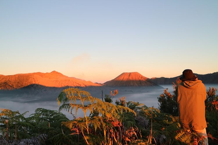 Wisatawan menikmati pemandangan matahari terbit dari Bukit Mentigen, Cemoro Lawang, Desa Ngadisari, Sukapura, Probolinggo, Jawa Timur. Bukit Mentigen adalah salah satu alternatif tempat melihat matahari terbit selain Bukit Penanjakan di Taman Nasional Bromo Tengger Semeru.