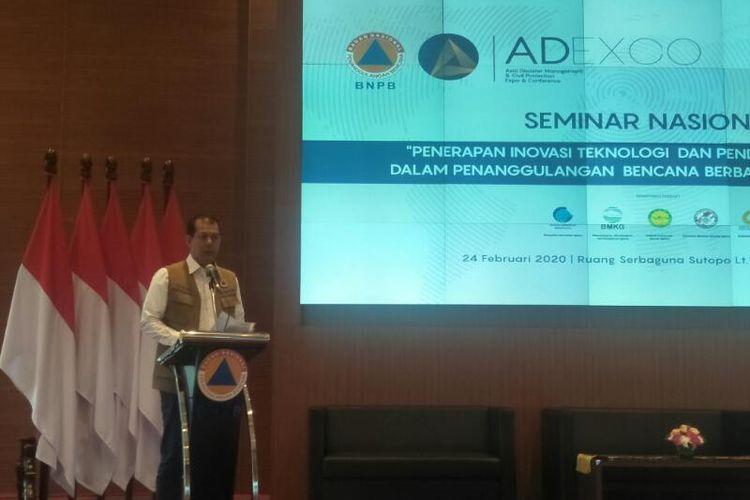 Kepala BNPB Doni Monardo Dalam Pembukaan Acara Seminar Nasional Bertajuk Penerapan Inovasi Teknologi dan Pendekatan Ekosistem dalam Penganggulangan Bencana Berbasis Kearifan Lokal di Graha BNPB, Jakarta, Senin (24/2/2020)