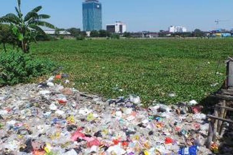 Eceng gondok tampak menutupi Waduk Ria Rio di Kelurahan Kayu Putih, Kecamatan Pulo Gadung, Jakarta Timur, Senin (19/8/2013), yang akan dinormalisasi seperti Waduk Pluit, Jakarta Utara.