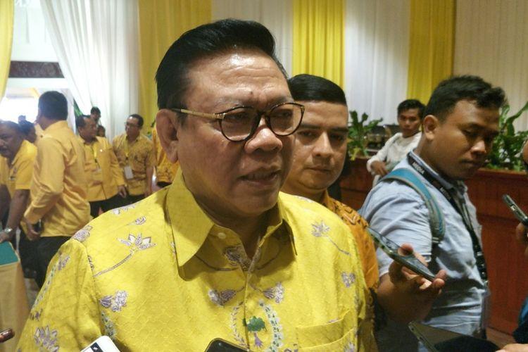 Ketua Dewan Pakar Partai Golkar Agung Laksono saat ditemui di Rakernas Partai Golkar, di Hotel Sultan, Jakarta, Jumat (23/3/2018).