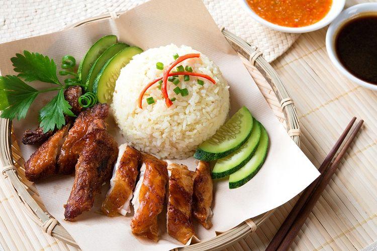 Ilustrasi nasi ayam khas Singapura