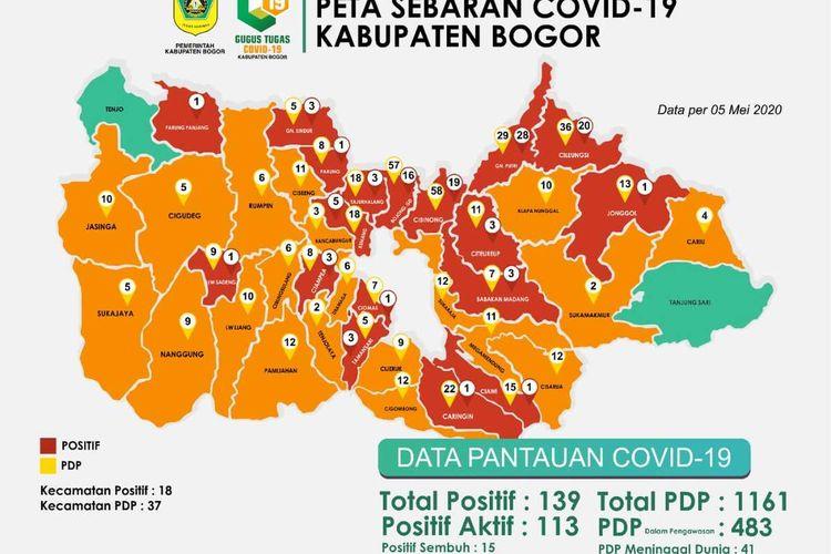 Peta sebaran zona merah rawan penularan virus corona ada 18 kecamatan di Kabupaten Bogor, Jawa Barat.