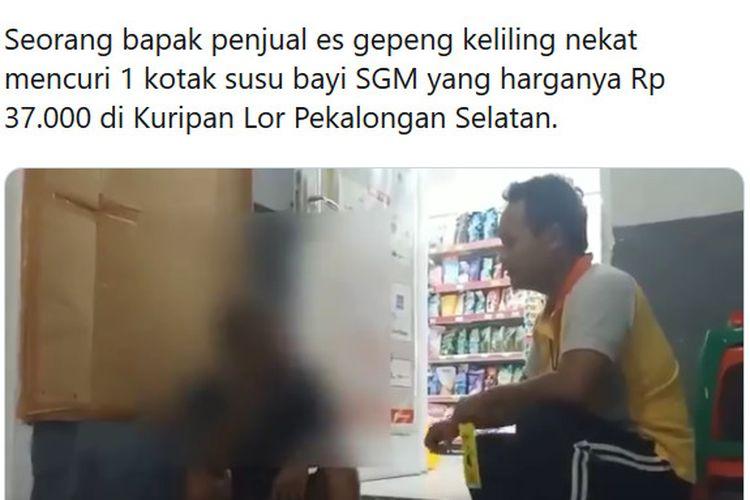 Pria yang sehari-hari bekerja sebagai penjual es gepeng ingin membeli susu seharga Rp 37.000 namun uangnya tak cukup sehingga ia mencuri.