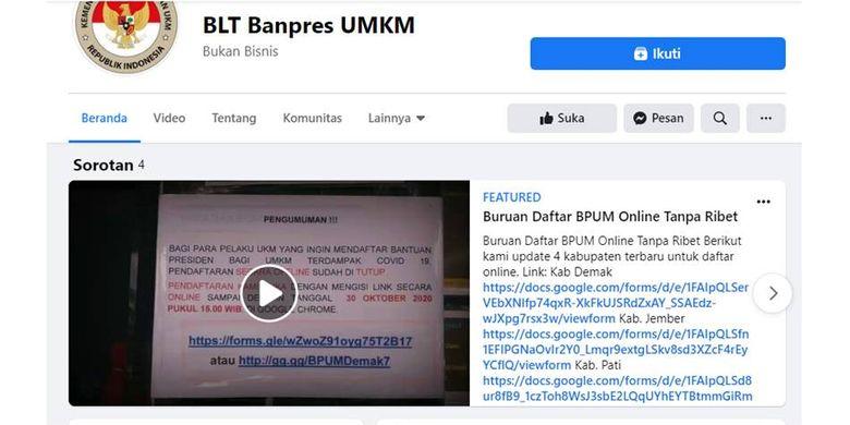 Tangkapan layar halaman Facebook yang mencatut Kemenkop