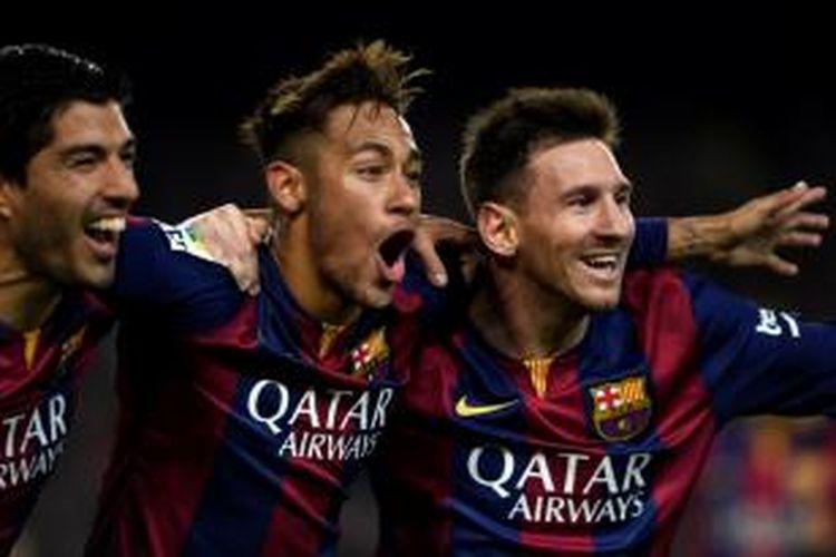 Trisula Barcelona: Luis Suarez, Neymar, dan Lionel Messi.