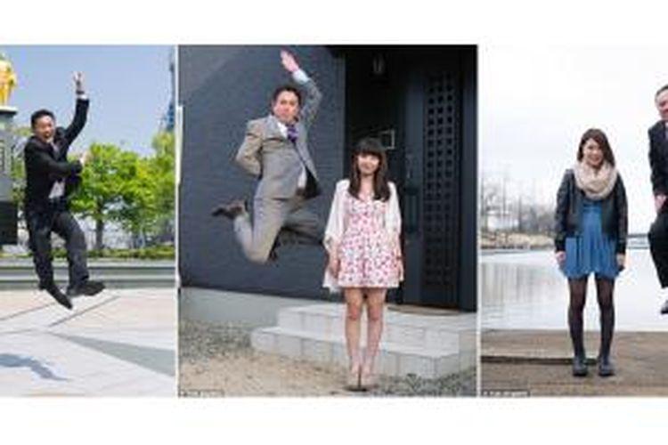 Pose ayah melompat di samping anak perempuan tengah menjadi tren fotografi di Jepang