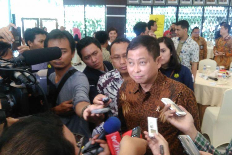 Menteri Energi dan Sumber Daya Mineral Ignasius Jonan di Jakarta, Rabu (22/3/2017).