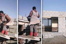 Foto Viral, Wanita Ini Berhasil Renovasi Rumah Seorang Diri