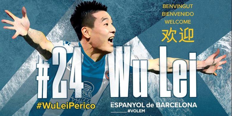 Pengumuman kedatangan pemain baru asal China, Wu Lei di situs resmi klub Espanyol.