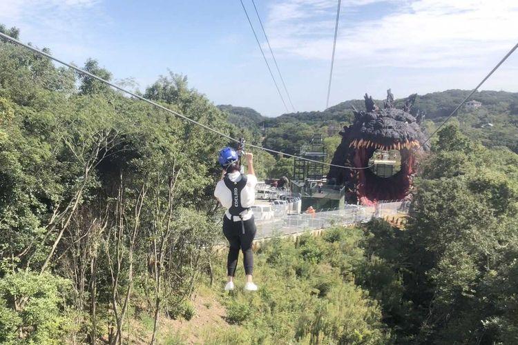 Godzilla Interception Operation Awaji, zipline menuju mulut Godzilla