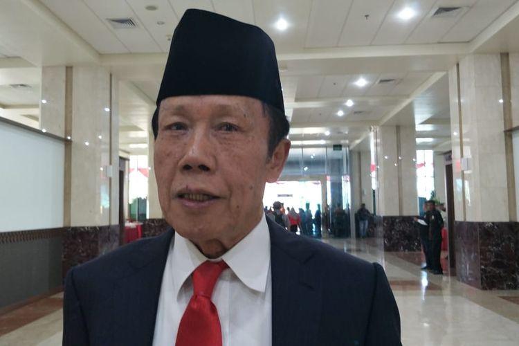 Mantan Gubernur DKI Jakarta Sutiyoso di Gedung DPRD DKI Jakarta, Jalan Kebon Sirih, Jakarta Pusat, Senin (26/8/2019).