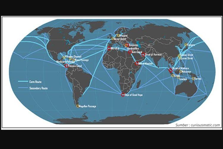 Ilustrasi peta jalur pelayaran perdagangan dunia yang merupakan keuntungan letak geografis Indonesia.