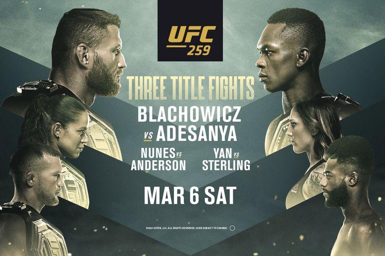 UFC 259 bakal jadi event terpadat dan paling penuh dengan pertarungan memperebutkan sabuk juara sepanjang 2021 sejauh ini. Jadwal UFC 259 adalah pada Minggu (7/3/2021) pagi hari WIB.