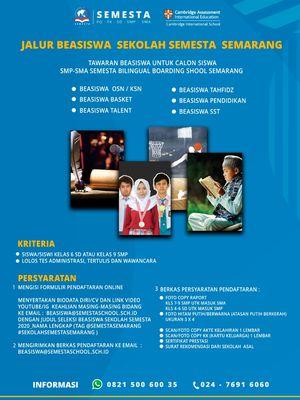 Menyambut Hari Ulang Tahun ke-22, Sekolah Semesta, Semarang - Jawa Tengah kembali menggelar Program Beasiswa Prestasi jenjang SMP dan SMA.