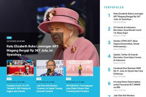 [POPULER TREN] Ratu Elizabeth Buka Lowongan ART Magang Gaji Rp 367 Juta   Seleksi CPNS 2021 Segera Diumumkan