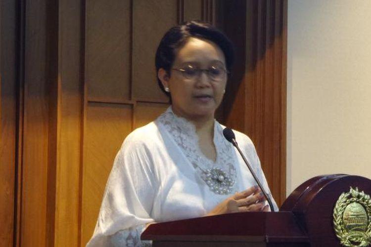 Menteri Luar Negeri Retnk Marsudi di Kantor Kementerian Luar Negeri, Jakarta, Senin (11/7/2017)