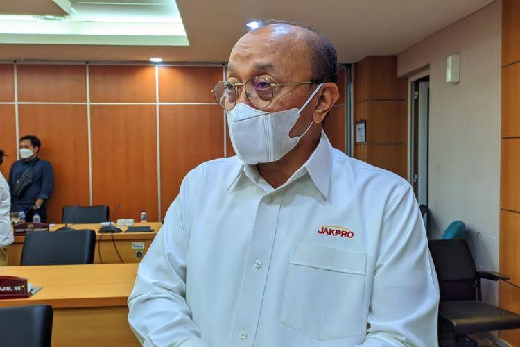 Direktur Utama PT Jakpro Widi Amanasto saat ditemui di ruang rapat Komisi B DPRD DKI Jakarta, Rabu (6/10/2021).