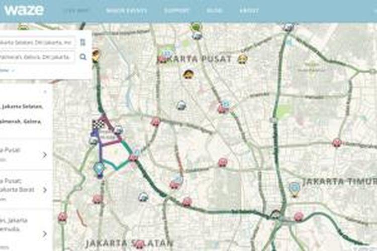 Waze bertukar informasi dengan pemerintah kota Jakarta.