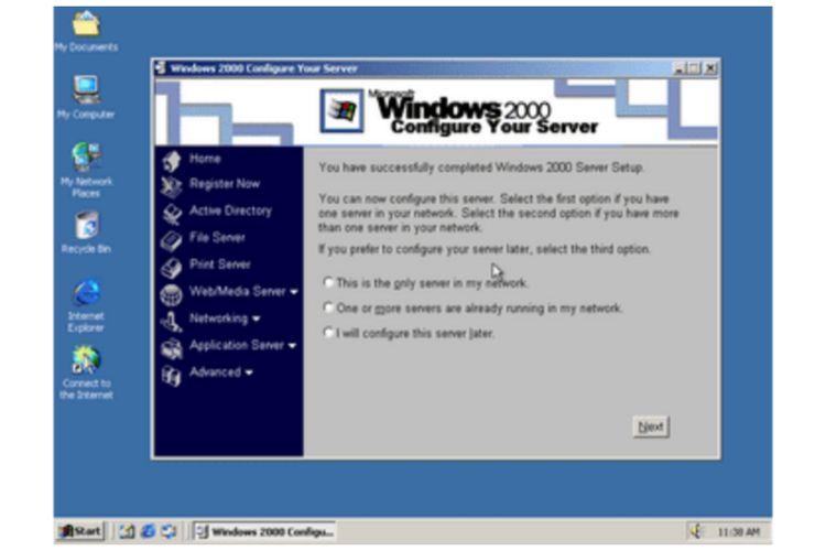 Tampilan antarmuka Windows 2000.
