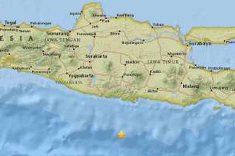 Gempa bumi di wilayah pantai selatan Jawa Timur, Kamis (22/9/2016) dini hari.