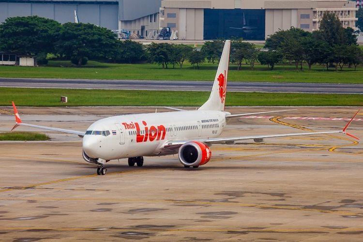 Sebuah Boeing 737 Max 9 milik maskapai Thai Lion di bandara Bangkok, Thailand.