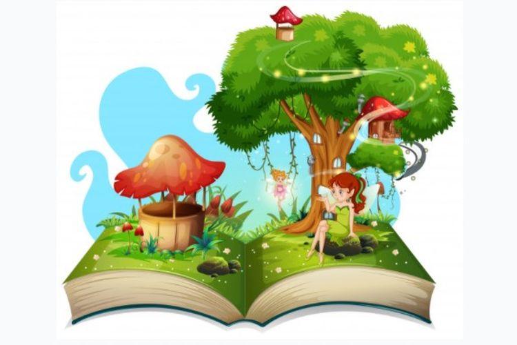 Ilustrasi buku cerita fantasi.