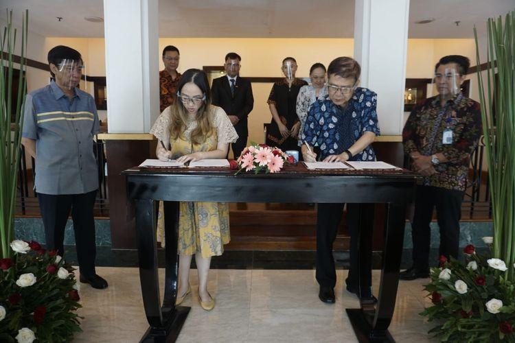 Perjanjian kerja sama proyek Hotel Santika Linggarjati-Kuningan, Rabu (15/7/2020).