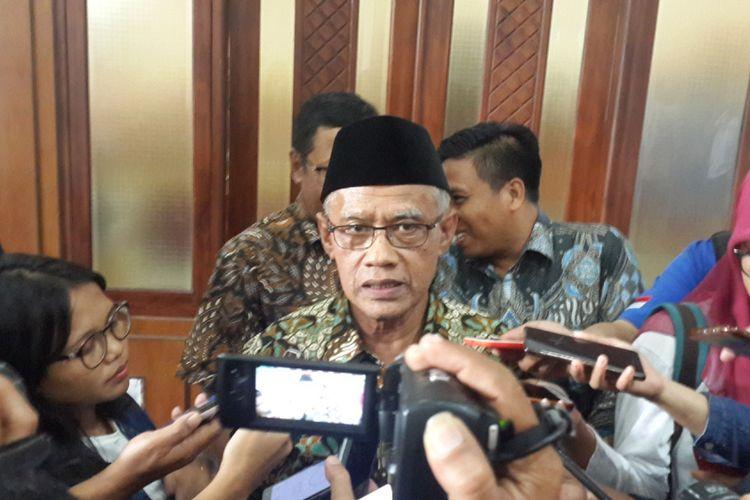 Ketua Umum PP Muhammadiyah Haedar Nashir saat menghadiri Sarasehan Kebangsaan Pra Tanwir Muhammadiyah di Universitas Muhammadiyah Malang (UMM) Kamis (7/2/2019).