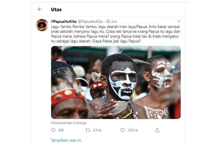 Tangkapan layar yang viral soal lagu Yamko Rambe Yamko bukan dari Papua