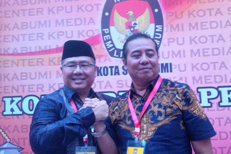 Bakal paslon Pilkada Kota Sukabumi Dedi R Widjaja (kiri).dan.Hikmat.Nuristawan (kanan)saat konferensi pers di KPU Kota Sukabumi,Jawa Barat, Rabu (10/1/2018).